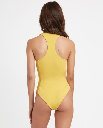 2 Solid - Lace Front One Piece Swimsuit for Women Yellow N3SWRARVP9 RVCA