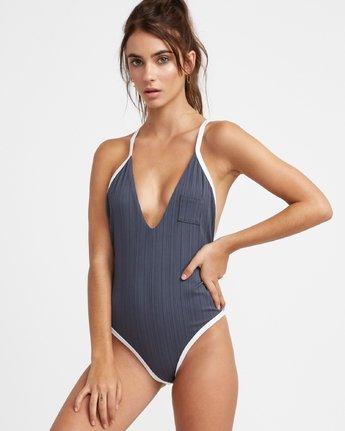 1 Linear One Piece Swimsuit Grey N3SWRERVP9 RVCA
