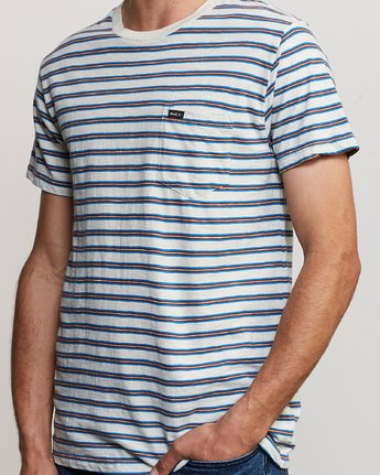 4 Vincent Stripe - T-Shirt à col rond pour Homme Argent P1KTRBRVS9 RVCA