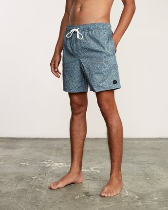 "2 Eclectic Elastic Short - 17"" Boardshorts for Men Blue P1VORCRVS9 RVCA"