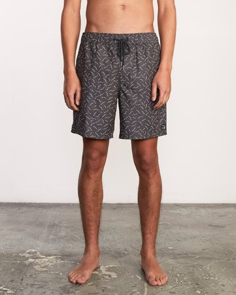 "1 Kristen Liu Wong Program Elastic Short - 17"" Boardshorts for Men Black P1VORDRVS9 RVCA"