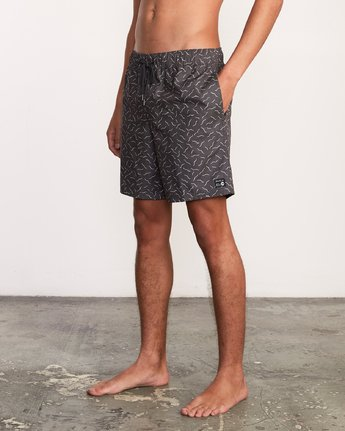 "2 Kristen Liu Wong Program Elastic Short - 17"" Boardshorts for Men Black P1VORDRVS9 RVCA"