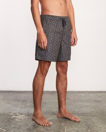 "6 Kristen Liu Wong Program Elastic Short - 17"" Boardshorts for Men Black P1VORDRVS9 RVCA"