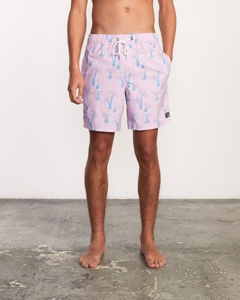 "2 Kristen Liu Wong Program Elastic Short - 17"" Boardshorts for Men Pink P1VORDRVS9 RVCA"