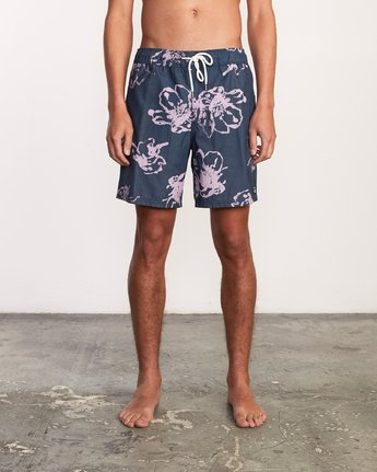 "2 Kristen Liu Wong Program Elastic Short - 17"" Boardshorts for Men Blue P1VORDRVS9 RVCA"
