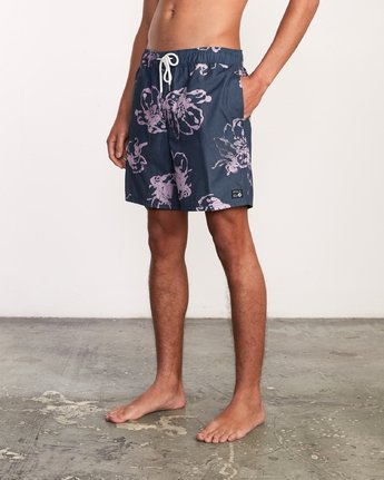 "3 Kristen Liu Wong Program Elastic Short - 17"" Boardshorts for Men Blue P1VORDRVS9 RVCA"