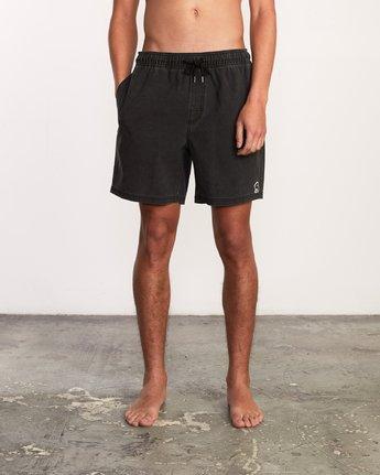 "1 Washer Elastic Short - 17"" Boardshorts for Men Negro P1VORERVS9 RVCA"