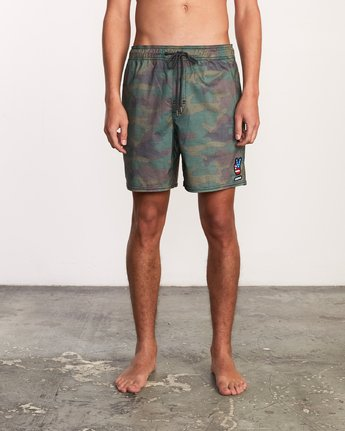 "1 Daytona Elastic Short - 17"" Boardshorts for Men Camo P1VORGRVS9 RVCA"