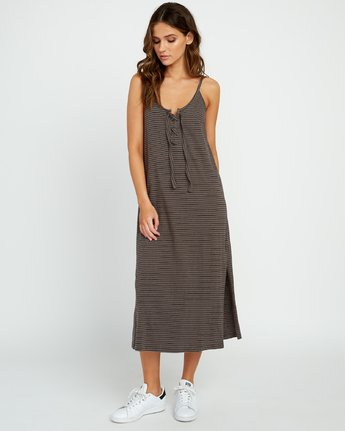 3 Equator Striped Midi Dress Grey P3DRRGRVS9 RVCA