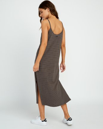 2 Equator Striped Midi Dress Grey P3DRRGRVS9 RVCA