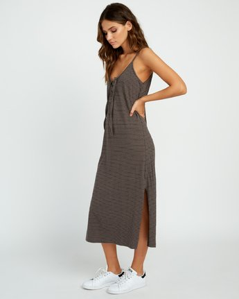 1 Equator Striped Midi Dress Grey P3DRRGRVS9 RVCA