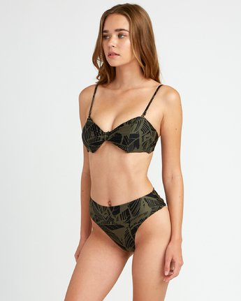1 Harlo High Rise Cheeky Bikini Bottoms Green P3SBRHRVS9 RVCA