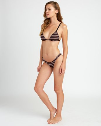 3 Bandit Striped Triangle Bikini Top for Women Schwarz P3STRKRVS9 RVCA