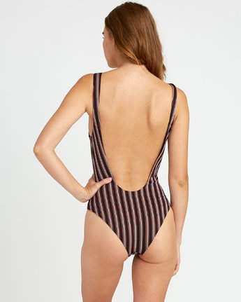 2 Bandit Striped Cheeky One Piece Swimsuit Black P3SWRDRVS9 RVCA