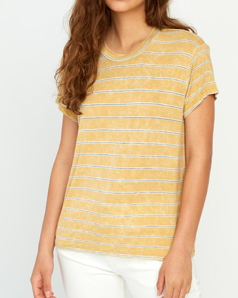 3 Recess Striped Knit T-Shirt Yellow P3TPRBRVS9 RVCA
