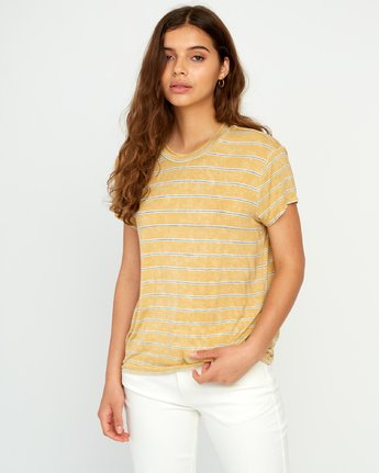 0 Recess Striped Knit T-Shirt Yellow P3TPRBRVS9 RVCA