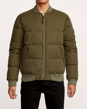 1 Superior Bomber  - Quilted Jacket Green Q1JKRIRVF9 RVCA