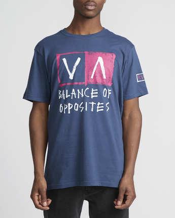 2 RVCA Blocker  - Short Sleeve T-Shirt Blue Q1SSSARVF9 RVCA