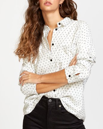 3 Hera  - Oversized Button-Up Shirt White Q3SHRBRVF9 RVCA
