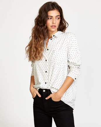 0 Hera  - Oversized Button-Up Shirt White Q3SHRBRVF9 RVCA