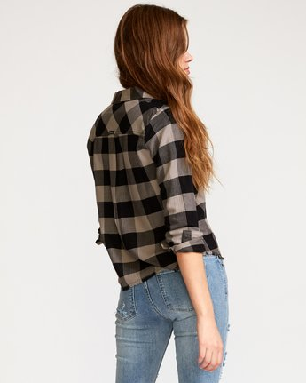 2 Jordan  - Plaid Button-Up Shirt Black Q3SHRCRVF9 RVCA