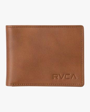 2 Crest Bifold - Leather Bi-Fold Wallet for Men Beige Q5WLRBRVF9 RVCA
