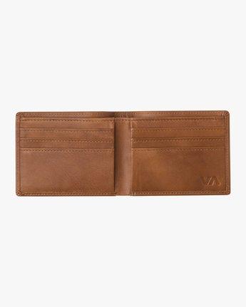 3 Crest Bifold - Leather Bi-Fold Wallet for Men Beige Q5WLRBRVF9 RVCA
