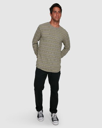 6 BLOOM PIQUE STRIPE LS TEE Green R105091 RVCA