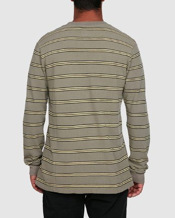 3 BLOOM PIQUE STRIPE LS TEE Green R105091 RVCA