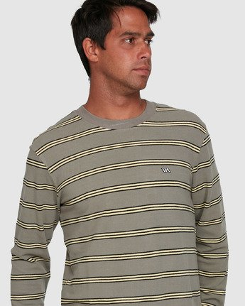 4 BLOOM PIQUE STRIPE LS TEE Green R105091 RVCA