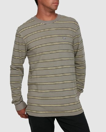 0 BLOOM PIQUE STRIPE LS TEE Green R105091 RVCA