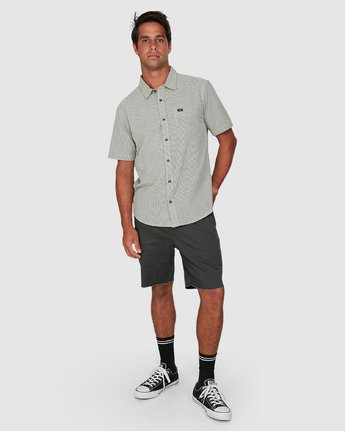 5 Endless Seersucker Short Sleeve Shirt Green R106189 RVCA
