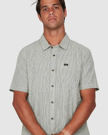 3 Endless Seersucker Short Sleeve Shirt Green R106189 RVCA