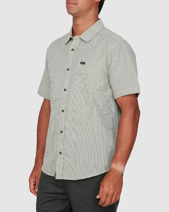 1 Endless Seersucker Short Sleeve Shirt Green R106189 RVCA