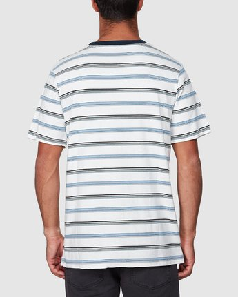 3 Aloha Stripe Short Sleeve Tee White R107061 RVCA