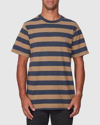 1 Shallow End Stripe Short Sleeve Tee Blue R107063 RVCA
