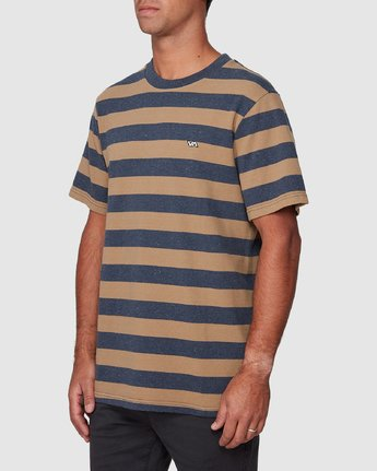 2 Shallow End Stripe Short Sleeve Tee Blue R107063 RVCA