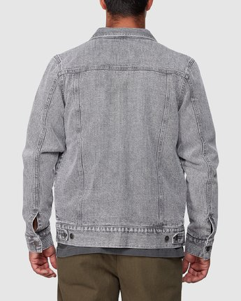 3 Daggers Denim Stripe Jacket Grey R107435 RVCA