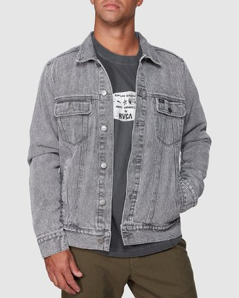 1 Daggers Denim Stripe Jacket Grey R107435 RVCA