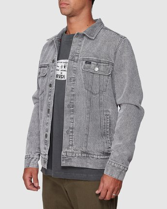 2 Daggers Denim Stripe Jacket Grey R107435 RVCA