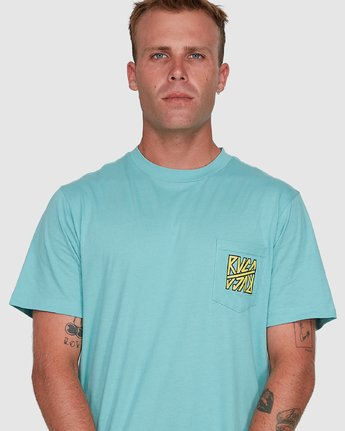 4 Sequel Short Sleeve Tee Blue R108047 RVCA