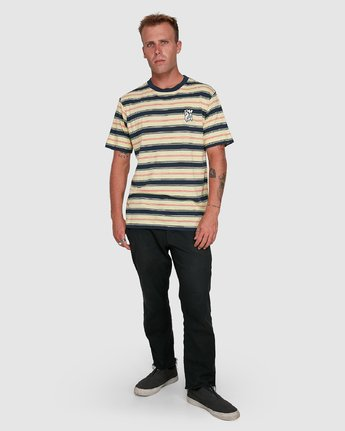 6 Dudes Stripe Short Sleeve Tee Yellow R108050 RVCA