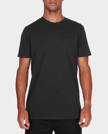 0 RVCA Pigment Fade T-Shirt Black R181066 RVCA