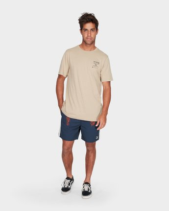3 RVCA Between The Lines Short Sleeve T-Shirt Yellow R182053 RVCA