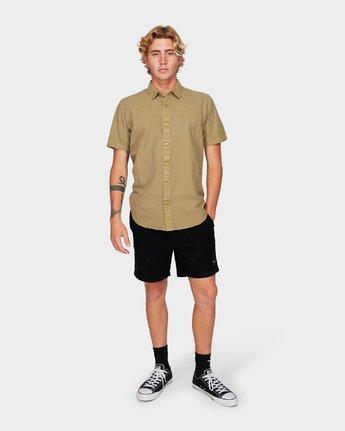 3 Crushed Short Sleeve Shirt Yellow R182191 RVCA