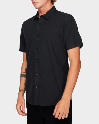 1 Crushed Short Sleeve Shirt Black R182191 RVCA