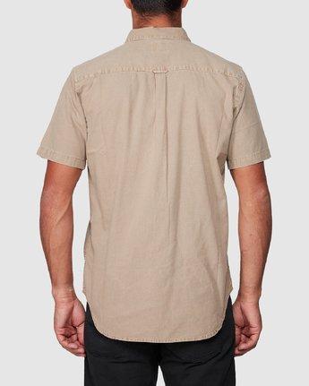 3 Crushed Short Sleeve Shirt Brown R182191 RVCA