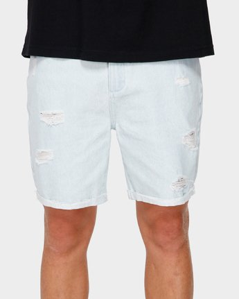 4 RVCA Rockers Cuffed Denim Short White R182317 RVCA