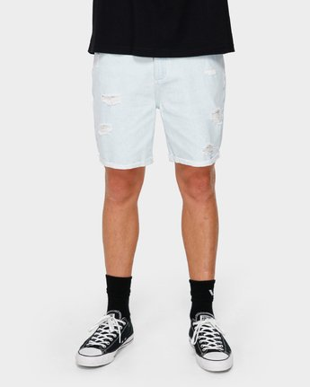 7 RVCA Rockers Cuffed Denim Short White R182317 RVCA