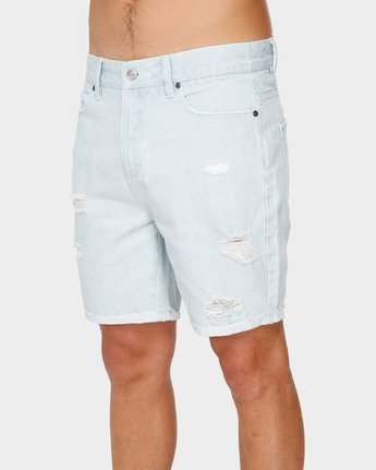 0 RVCA Rockers Cuffed Denim Short White R182317 RVCA